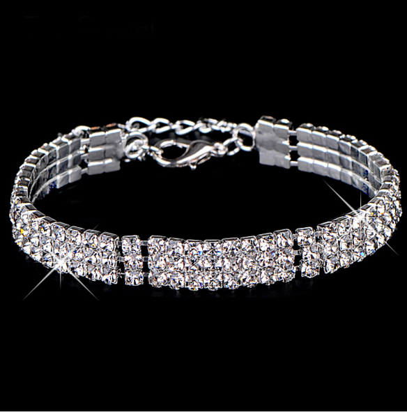 Multi-chain silver plated Austrian crystal